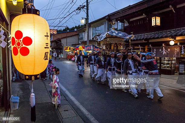 Men carry Shinto's Mikoshi during summer festival