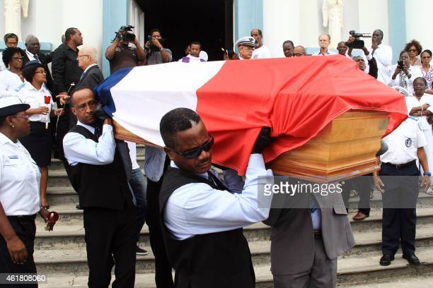 Men carry the coffin of French municipal police officer from Martinique Clarissa Jean-Philippe, who died in an attack in Montrouge, south of Paris on...
