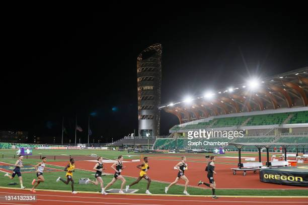 Men compete in the 5000 meter final during the Oregon Relays at Hayward Field on April 23, 2021 in Eugene, Oregon.