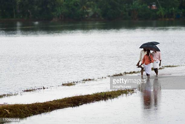Men crossing a road covered with water due to the monsoons in Alappuzha Kerala India