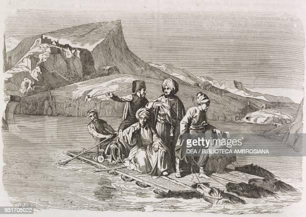 Men crossing the Tigris River on a raft Iraq engraving from L'album giornale letterario e di belle arti September 6 Year 12