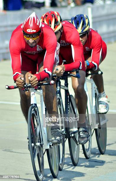 Men Cyclists from various Indian Universities in action on the inaugural day of the All India InterUniversity Cycling Track Championship 201516 which...