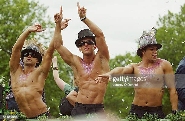 Men dance on a float during the march for Gay Pride on July 2 2005 in London More than 40 floats along with bands drummers and thousands of marchers...