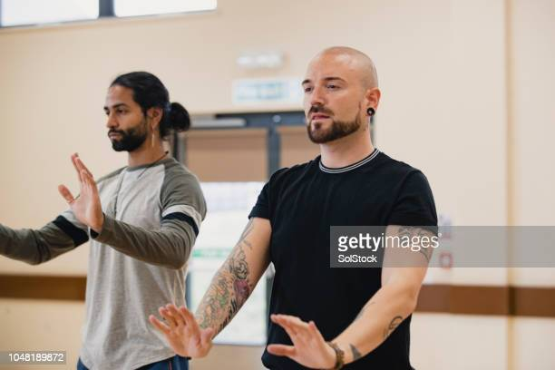 men doing tai chi - martial arts stock photos and pictures