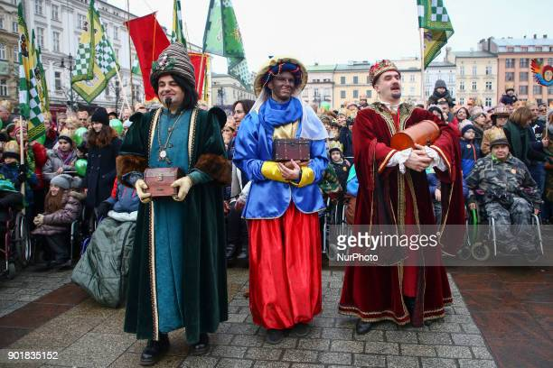 Men dressed as magi Caspar Melchior and Balthasar take part in the Epiphany known as Three Kings' Day in Krakow Poland on January 06 2018 The parade...