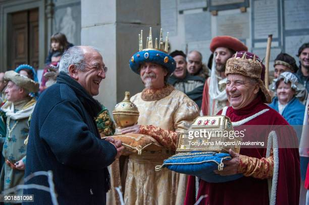 Men dressed as the Three Wise and the priest of Santo Spirito's Church take part the traditional Three Wise parade which begins at Pittis Square and...