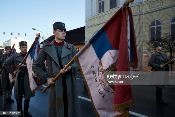 Men dressed in fatigues from the former Yugoslavia line up during the parade in Banja Luka on January 9 2019 in Banja Luka Bosnia and Herzegovina...
