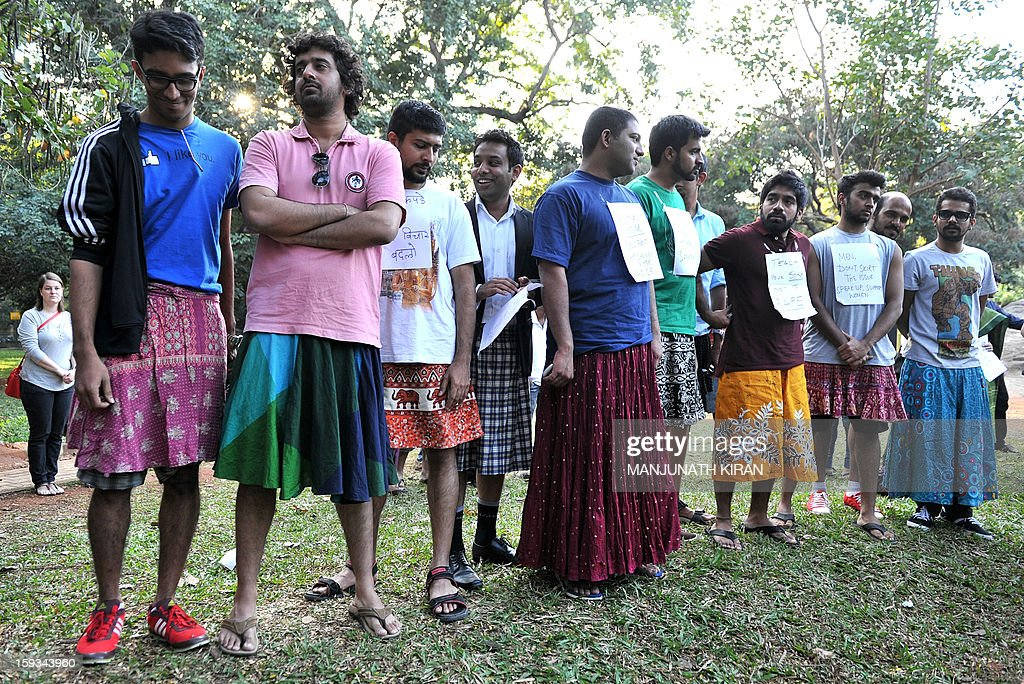 Men dressed in skirts take part in a demonstration against the rape and sexual abuse of women, in Bangalore on January 12, 2013. Activists who met on the social networking site Facebook for a common cause have named their movement 'New Socialist Alternative' and are holding protests simultaneously in various parts of India. AFP PHOTO/Manjunath KIRAN