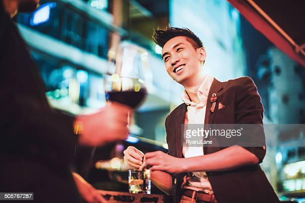 men drinking in hong kong - asian drink stock photos and pictures