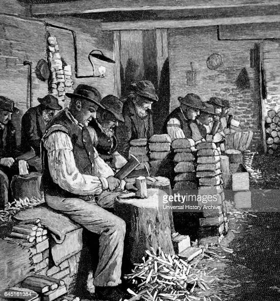 Men employed chopping firewood in the casual ward of a London workhouse 1895