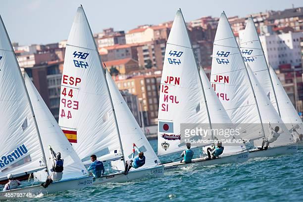 Men ESP44 Jordi XAMMAR / Joan HERP 470 Men JPN12 Tetsuya MATSUNAGA / Yugo YOSHIDA 470 Men JPN11 Kazuto DOI / Kimihiko IMAMURA in action during the...