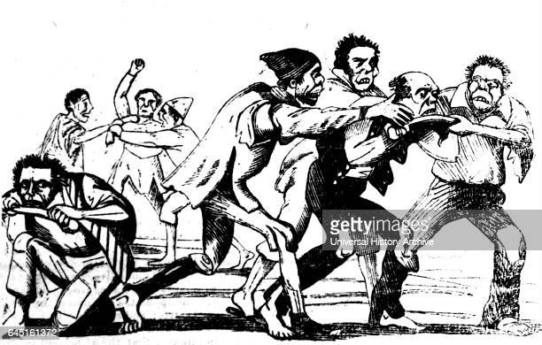 Men fighting over food depicting the poverty of workhouses in England 1895