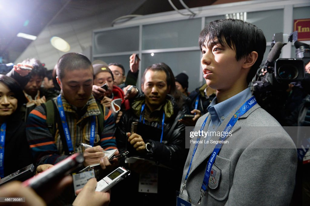Men figure skater Yuzuru Hanyu of Japan arrives at Sochi International Airport ahead of the Sochi 2014 Winter Olympics on February 3, 2014 in Sochi, Russia.