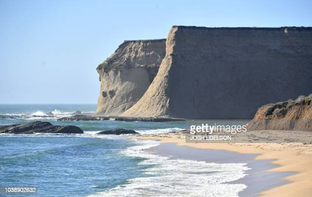 Men fish along Martin's Beach in Half Moon Bay California on September 19 2018 Billionaire Vinod Khosla purchased the land and has been limiting...