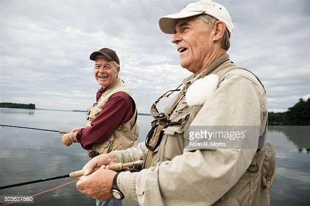 Men fly-fishing at Sebago Lake