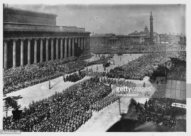 12000 men from Liverpool South Lancashire and West Cheshire have joined the New Army shown taking part in an inspection before Lord Kitchener the...