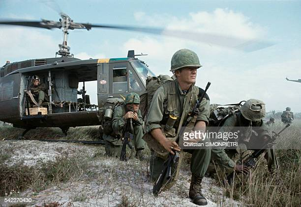 Men from the 1st Air Cavalry Division ready for a Search and Destroy Operation around their base of An Khe in the Center of Vietnam between Pleiku...