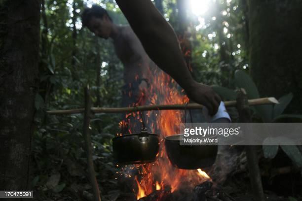 Men from the Huaorani tribe, in Coca, Orellana province, in Ecuador. The Huaorani, or Waos are native Amerindians from the Amazonian Region of...