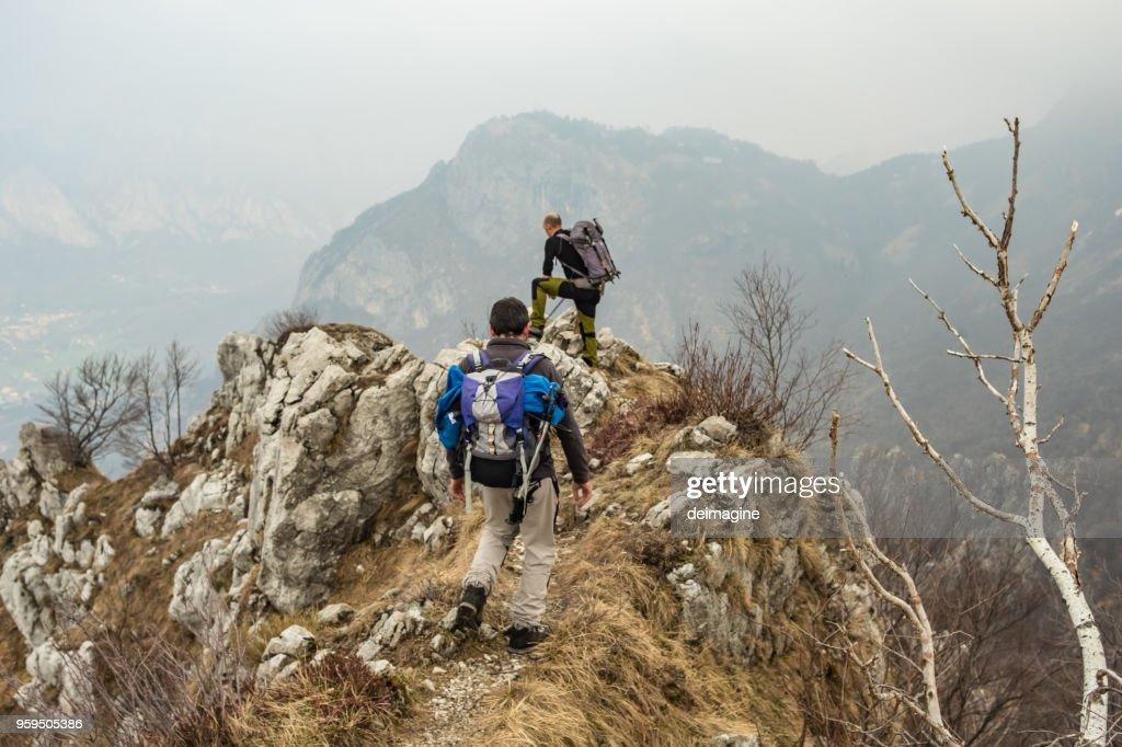 Männer Wandern im Wald : Stock-Foto