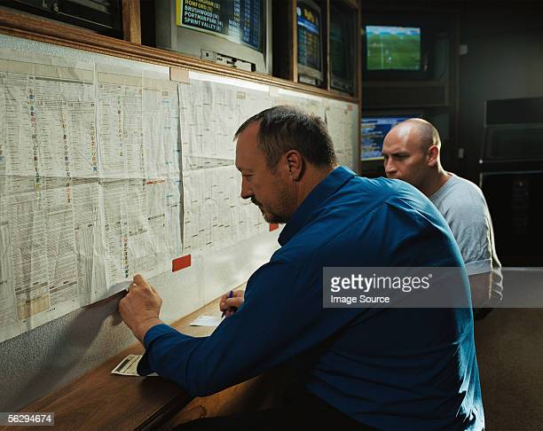 Men in a betting shop