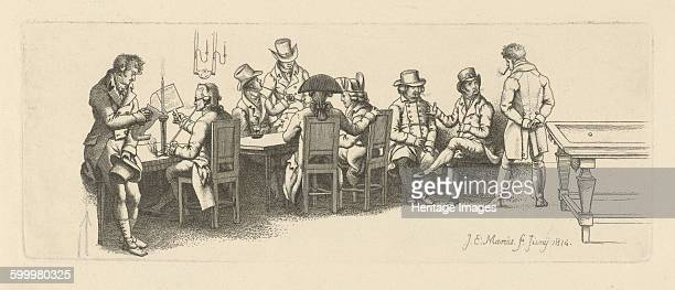 Men in a coffee house with a Billiard room 1814 Found in the collection of Rijksmuseum Amsterdam Artist Marcus Jacob Ernst