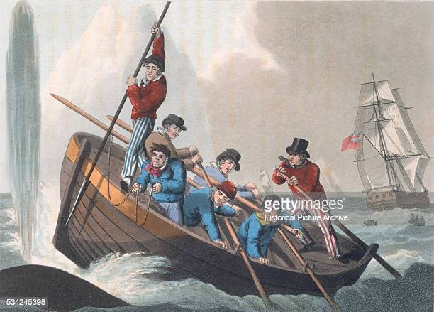 Men in a rowing boat attack a whale with a harpoon Published in London in 1813