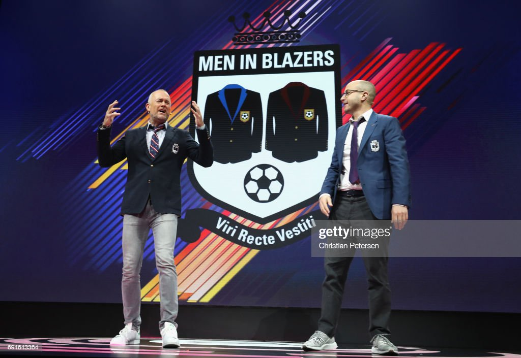 'Men In Blazers' show hosts Michael Davies and Roger Bennett speak on stage during the Electronic Arts EA Play event at the Hollywood Palladium on June 10, 2017 in Los Angeles, California. The E3 Game Conference begins on Tuesday June 13.