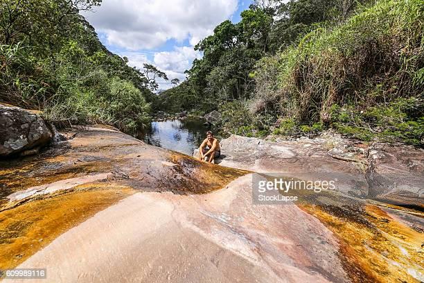 Men in Chapada Diamantina Waterfall - National Park