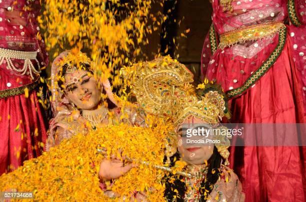 men in disguise of radha krishna performing dance in marwar festival, jodhpur, rajasthan, india - radha krishna stock pictures, royalty-free photos & images
