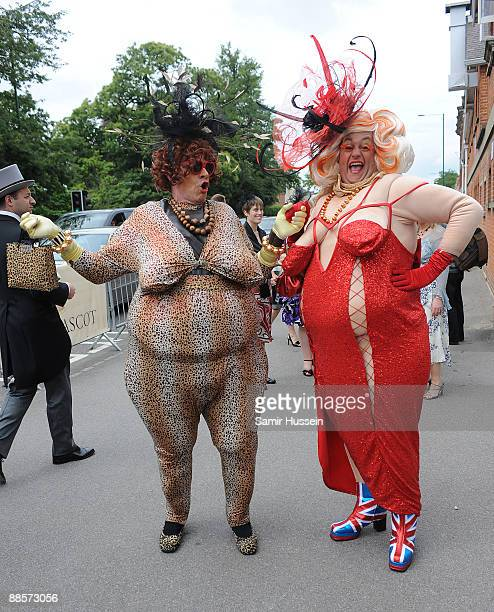 Men in fancy dresses attend Ladies Day of Royal Ascot at Ascot Racecourse on June 18 2009 in Ascot England