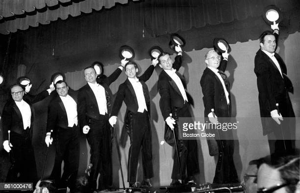 Men in the cast perform during the annual Vincent Club benefit show for the Vincent Memorial Hospital at the New England Life Hall in Boston on Apr 7...