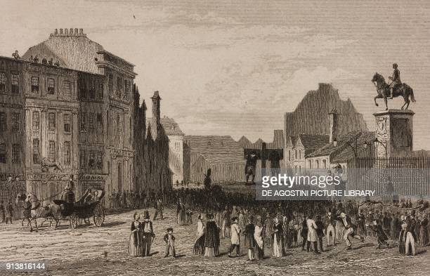 Men in the pillory, Charing Cross, London, England, United Kingdom, engraving by Lemaitre from Angleterre, Ecosse et Irlande, Volume IV, by Leon...