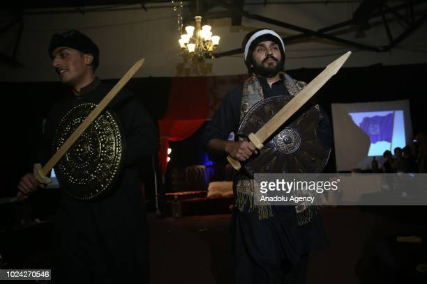Men in traditional Turkish clothing attend the Ertugrul themed dinner organized by New Brunswick Islamic Center in New Brunswick United States on...