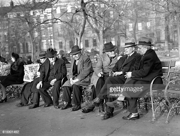 Men in Washington Square discuss world events the day before the bombing of Pearl Harbor New York New York December 6 1941