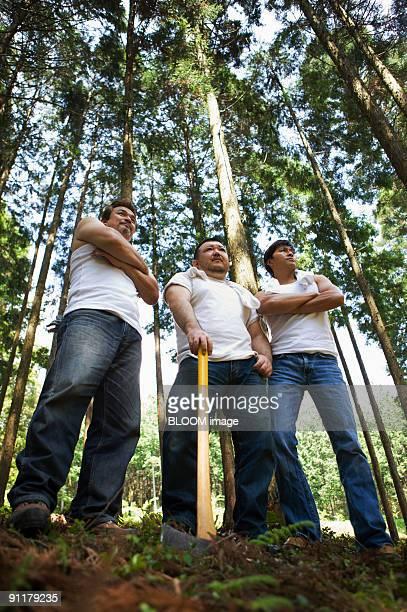 Men in woods, portrait