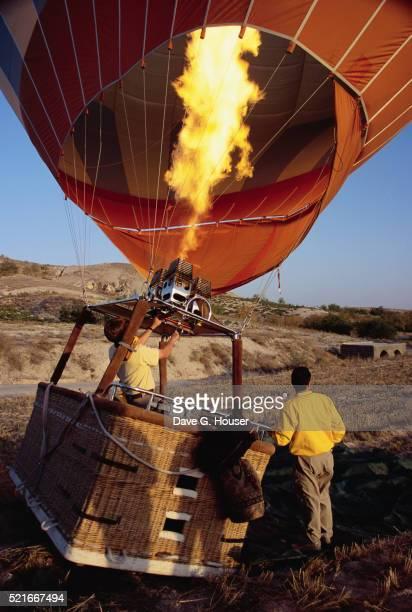 Men Inflating Hot Air Balloon
