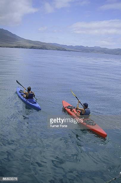 Men kayaking in sea