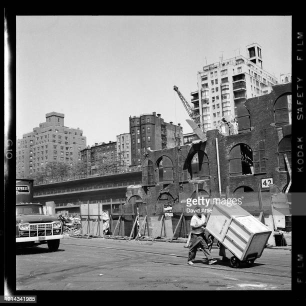 Men make delivery near construction site in Brooklyn Heights in March 1958 in New York City New York