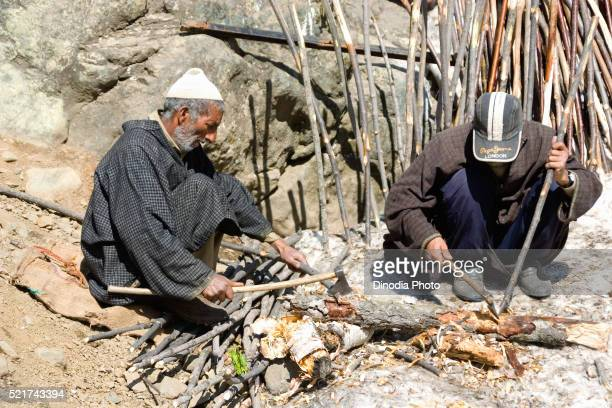 men making sticks on hill, chandanvaadi, jammu and kashmir, india, asia - men stockfoto's en -beelden
