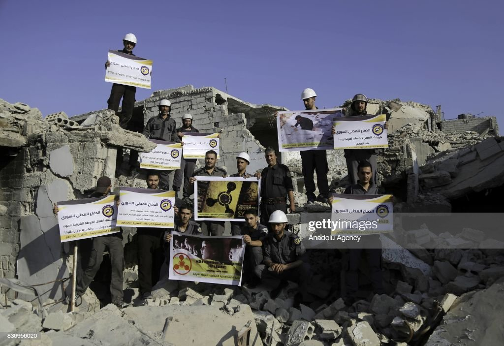 Syrian Civil Defense Organization Stage Protest In Syria