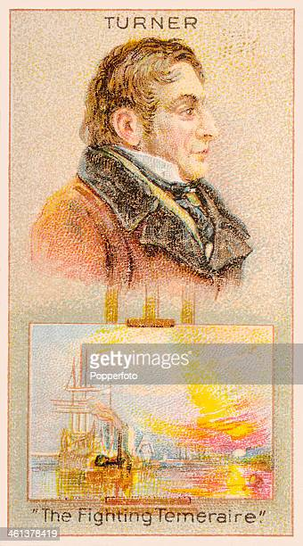 A Men of Genius Shelley cigarette card featuirng illustrations of the English artist Joseph Mallord William Turner and his painting The Fighting...