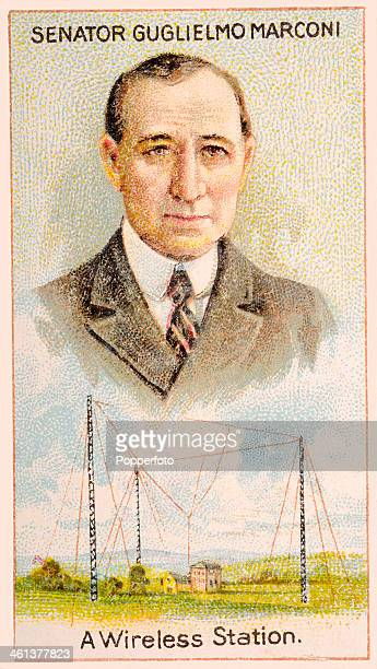 A Men of Genius Shelley cigarette card featuring illustrations of Italian electrician and inventor Guglielmo Marconi and a wireless station published...