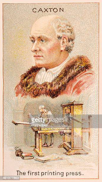 A Men of Genius Shelley cigarette card featuring illustrations of William Caxton and the first printing press which he introduced into England in...