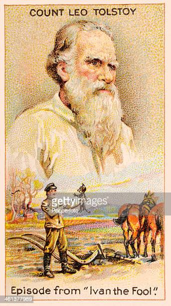 A Men of Genius Shelley cigarette card featuring illustrations of Leo Tolstoy the Russian author and a scene from his short story Ivan the Fool...