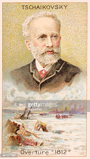 A Men of Genius Shelley cigarette card featuring illustrations of Peter Tschaikovsky the Russian composer and a scene depicting his 1812 Overture...