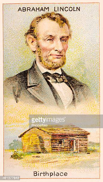 A Men of Genius Shelley cigarette card featuring illustrations of American president Abraham Lincoln and his birthplace a log cabin published by J...