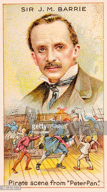 A Men of Genius Shelley cigarette card featuring illustrations of Sir James Matthew Barrie the English author and humourist and a pirate scene from...
