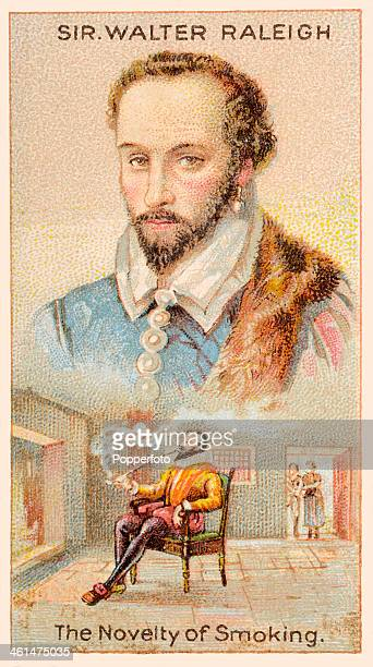 A Men of Genius Shelley cigarette card featuring illustrations of Sir Walter Raleigh the English gallant and hero who introduced both tobacco and the...