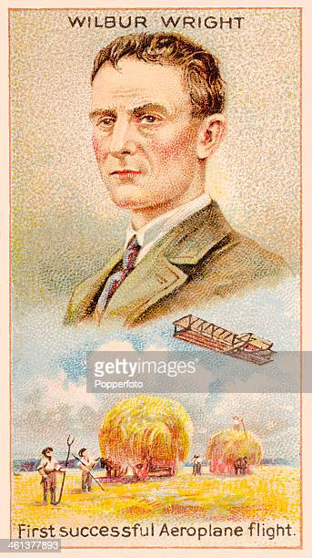 A Men of Genius Shelley cigarette card featuring illustrations of the American aviation pioneer Wilbur Wright and the first successful aeroplane...