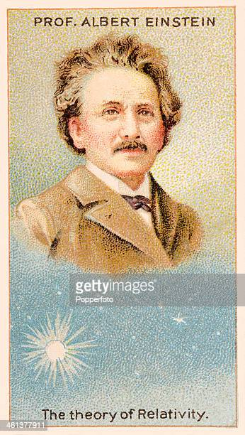 A 'Men of Genius' Shelley cigarette card featuring illustrations of Albert Einstein the German mathematician who promulgated the Theory of Relativity...